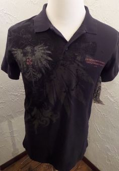 Monarchy EVERLASTING Handcrafted Graphic Design in LA Polo Shirt NWT Sz Large #Monarchy #Polo