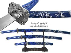 Carved Dragon Blue Samurai Sword Set