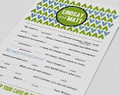 Wedding Mad Libs PDF FILE Print Yourself Heart Repeat Colors are Customizable Digital File