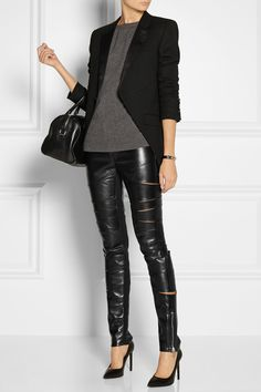 Saint Laurent leather pants. I would wear them as styled above or with the sequin blazer I posted.