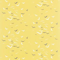 Tissu Scion - Collection Melinki One - Flight Lemon/Gull/Chalk - 137 cm - Tissus ameublement Bird Wallpaper, Fabric Wallpaper, Nautical Blinds, Scion Fabric, Contemporary Lounge, Fabric Board, Painted Rug, Roman Blinds, Gull