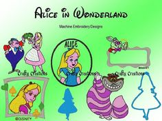 Alice in Wonderland Embroidery Machine Design Patterns 4x4 and 5x7 dst, exp, hus, jef, pes, sew, vp3, xxx Formats INSTANT DOWNLOAD on Etsy, $2.99