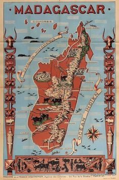 ~ Anonym Map Of Madagascar, Cruise Tips Royal Caribbean, Disneyland, Last Minute Travel Deals, Image Of Fish, Pictorial Maps, Art Deco Posters, Sale Poster, France