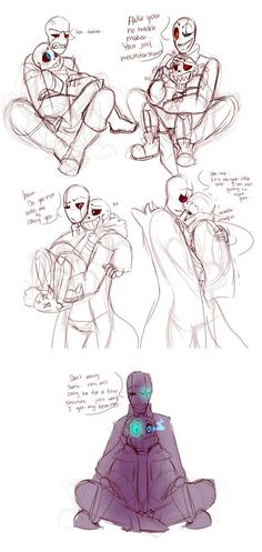so here a sketch dump of some more gasters...and of a comic of underswap gaster hugging all of them..he is such cutey!!