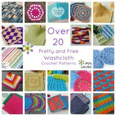 Over 20 Pretty and Free Washcloth Crochet Patterns compiled by Simply Collectible Crochet Kitchen, Crochet Home, Crochet Gifts, Diy Crochet, Crochet Geek, Crochet Round, Crochet Squares, Love Crochet, Crochet Dishcloths