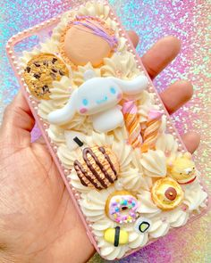 Custom Kawaii Decoden Cinnamoroll ice cream and cookies Case - Deco whip phone cases - Macarons Decoden Phone Case, Kawaii Phone Case, Girly Phone Cases, Diy Phone Case, Iphone Cases, Kawaii Crafts, Fun Crafts, Crafts For Kids, Girl With Purple Hair