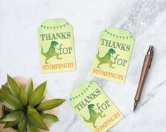 Dinosaur Birthday Tags, Thank You Tags, Watercolor Dinosaur Favor Tags, Dinosaur Bag Tags, DIGITAL DILE by TDApartyonpaper on Etsy