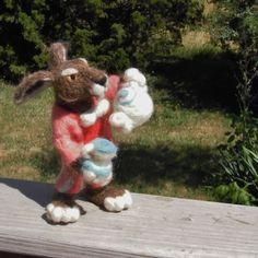 Customizable needle felt March Hare with jacket by MarchHareCreations on Etsy, $40.00  Browse the store for more Alice in Wonderland items