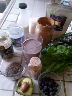 Allow your smoothie to take you to new heights by creating a nutrient-dense, low-in-sugar, high in sustainable energy power food. Keep your insulin level steady by choosing high quality fats, digestible proteins, and slow-converting carbohydrates. Blueberries, avocado, cinnamon, soaked chia, raw almond butter, extra virgin coconut oil, swiss chard, shredded coconut, carob, maca, and freshly made almond milk. Delicious, nutritious, and life-giving.