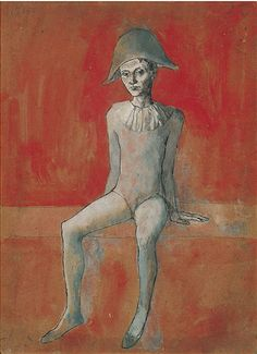 Painting by Pablo Picasso, 1905, Seated Harlequin.