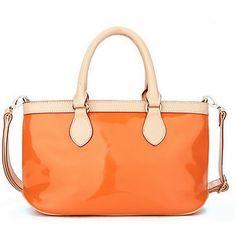 Ital. Handtasche Damentasche Umhängetasche Ledertasche PU Lack Orange