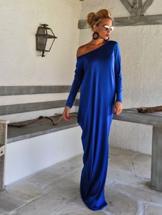 Royal Blue Maxi Dress Kaftan with Black от SynthiaCouture на Etsy