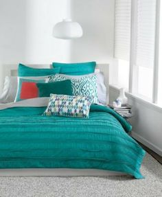 Bar lll Solid Ruffle Standard Cotton Pillow Sham Teal