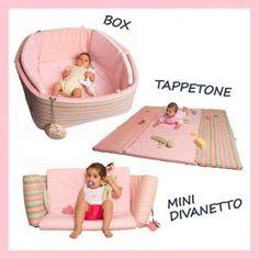 3-in-1!! un box morbido e sicuro per i più piccoli, un tappeto giochi e un mini divanetto...Da 0 mesi a 5 anni e oltre!
