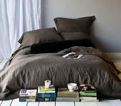 Cozy Bed-on-the-Floor.  Good for young kids and college students.  Blog: French By Design: Books...