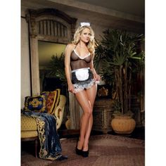 4 pc french flirt fishnet babydoll, thong, apron and hat black o/s