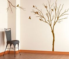 Vinyl Art Realistic Winter Tree With Birds Stick On by DecaIisland