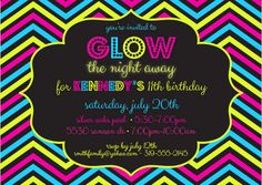 glow-in-the-dark party invitation | glow, sour gummy bears and, Party invitations
