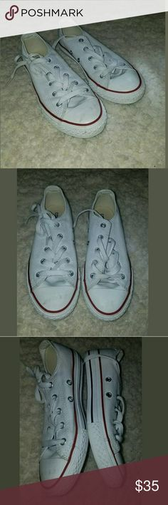 CONVERSE ALL STAR Girl's Youth Size 2 Low White CONVERSE ALL STAR Girl's Youth Size 2 Low Cut White Tennis Shoes -   Excellent used condition.    AB Converse Shoes Sneakers