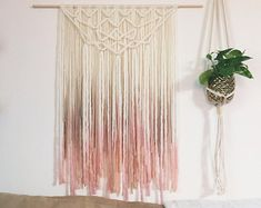 Blush and Gold Yarn Wallhanging Bohemian tapestry dip-dyed