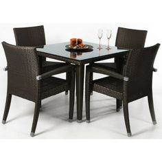 RATTAN Dining Set by Outdoor Patio. $469.00. 6 pc. Set with Bevel Glass Top. Table 35 x 35 x 29H. UV inhibitors repel the damaging effects of the sun & harsh weather = MAINTENANCE FREE wicker.. Maintanence Free Solid Aluminum Frame. All Weather Resin Rattan Wicker. Includes Glass Plate Top + 4 Arm Chairs with with decorative aluminum ferrules.. Save 61%!