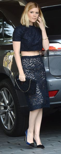 Kate Mara in a crop top and lacy pencil skirt at the Dior lunch- love this polished look!