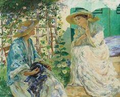 Rupert Charles Wulsten Bunny (Australian artist, 1864-1947): Two Ladies in a Garden, 1913