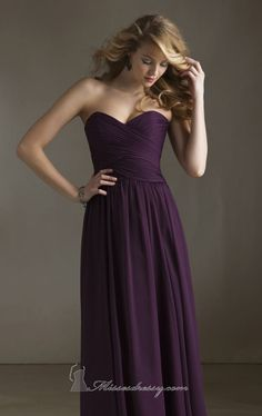 Dramatic Deep Purple Bridesmaid Dress Mori Lee 20411 by Angelina Faccenda Bridesmaids