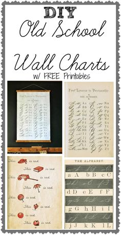 DIY Antique School Wall Chart with FREE Antique Printables via http://KnickofTime.net