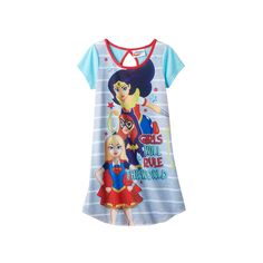 "Girls 4-12 DC Comics DC Super Hero Girls Wonder Woman, Bat Girl & Super Girl ""Girls Will Rule The World"" Dorm Nightgown, Size: 6, Grey"