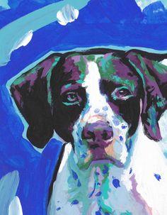 English Pointer portrait PRINT modern of colorful by BentNotBroken