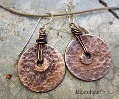 Hammered Metal Discs & Messy Wire Wraps! Rio Grande Latte. artisan earrings rustic copper by beatnheart