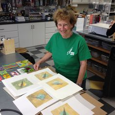 Gloria practicing techniques she learned in David A. Clark's Encaustic Printmaking workshop.