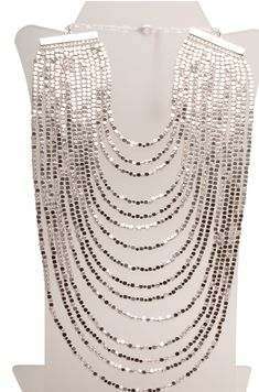 Layered multi-strand beaded bib statement necklace designed by Parisian Karine Sultan, popular amongst stars in Hollywood especially Joan Rivers who wears layers and layers of her incredibly stunning Dainty Diamond Necklace, Diamond Cross Necklaces, Ruby Necklace, 14k Gold Necklace, Cluster Necklace, Ruby Jewelry, Diamond Pendant, Beaded Jewelry, Jewellery
