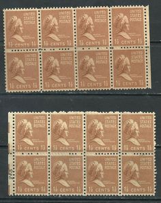 US MNH collection of 2 blocks of 8 SC #805 - 1 1/2¢ Martha Washington, 16 stamps