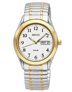 2tone brushed finish slim design expansion band day date women s seiko solar mens watch white dial two tone expansion band day