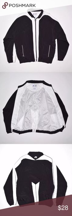 Rare VTG Russell Athletic Mesh Lined Jacket Brand: Russell Athletic Item name: Men's Nylon Mesh Lined Jacket   Color: Black / White Condition: This is a pre-owned item. It is in great usedcondition with no stains, rips, holes, etc. Comes from a smoke free household. Size: XXL Measurements: Pit to Pit - 29 inches Neckline to bottom - 30 inches Russell Athletic Jackets & Coats Performance Jackets
