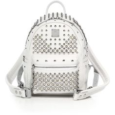 MCM Stark Special Mini Studded Leather Backpack ($2,200) ❤ liked on Polyvore featuring bags, backpacks, apparel & accessories, white, leather strap backpack, studded backpack, day pack backpack, leather studded backpack and genuine leather backpack