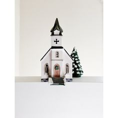 All Saints Country Church Dept 56 Snow Village 1986 Lighted Ceramic... ($40) ❤ liked on Polyvore featuring home, home decor, holiday decorations, ceramic home decor and lighted home decor
