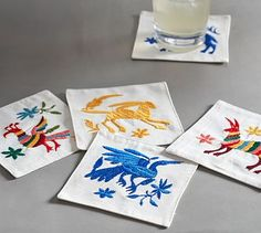 Otomi Embroidered Drink Coaster, Set of 4 #potterybarn