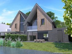 Modern Architecture House, Modern House Design, Modern Houses, Fasade House, Atrium House, Modern Contemporary Homes, Building Design, My Dream Home, New Homes