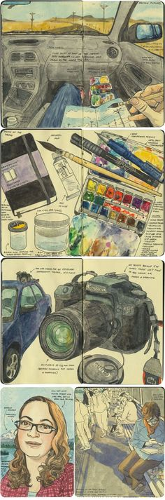 Chandler O'Leary #sketch #watercolor #moleskine http://drawntheroadagain.com/about/