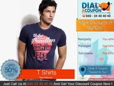 Beat The Heat With The Cool Range Of T-Shirts. Get The Latest Collection Of T Shirts With Amazing Discounts. Call Dial A Coupon @040 24 40 40 40 And Get You Discount Coupon.   For More Discount Deals Please Visit: www.DialACoupon.com