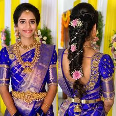The subtle beauty! 😍 makes sure to only enhance her brides complexion, never change it -because a bride must always feel… Bridal Hairstyle Indian Wedding, South Indian Bride Hairstyle, Indian Bridal Outfits, Bridal Hairdo, Indian Wedding Hairstyles, Wedding Saree Blouse Designs, Half Saree Designs, Pattu Saree Blouse Designs, Fancy Blouse Designs
