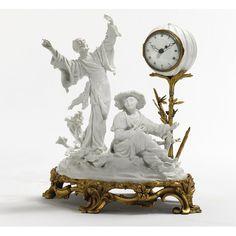 A Louis XV style ormolu-mounted blanc de chine porcelain clock.