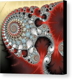 Fractal Spirals Canvas Print for sale. Modern abstract digital art based on a mandelbrot fractal, lovely red, grey, light blue and brown colors, square format. The image gets printed on one of our premium canvases and then stretched on a wooden frame, click through and check out your options. 30 days money back guarantee. Matthias Hauser - Art for your Home Decor and Interior Design.