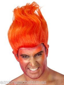 Wig Flame Red Halloween Male Costume Theme Party