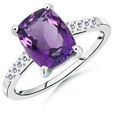 #angara.com               #ring                     #Cushion #Amethyst #Round #Diamond #Ring #White #Gold                         Cushion Amethyst and Round Diamond Ring in 14k White Gold                                               http://www.seapai.com/product.aspx?PID=1470563