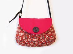 red and black handbag with an adjustable strap by sofiapaseka, $42.00