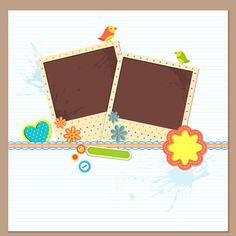 Photo frame with card vector
